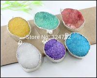 5pcs Silver Tone Nature Druzy pendant, Drusy Crystal Quartz,Druzy Gem stone Pendant in mix color Jewelry findings