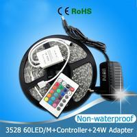 5M RGB LED Strip 3528SMD 60LEDs/M Waterproof LED Strip Flexible Light Tape+24W Power Adapter+24 Keys IR Remote + FREE SHIPPING