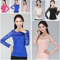 Women Long Sleeve Lace T-shirt Plus Size Female Tee XXXXL/XXXXXL slim shirt