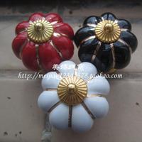3 COLORS Ceramic Handle Pull Knobs Cabinet Pumpkin Door Cupboard Drawer Locker