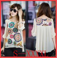 2014 New O-Neck Print blusas femininas blouses shirts Casual Chiffon camisas femininas plus size blouse