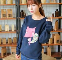 [Alice] free shipping 2014 Autumn and winter new style women cotton hoodies Big head the fox fleece warm sweatshirts 4color 821D