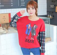 [Alice] free shipping 2014 Autumn and winter new style women hoodies two girls fleece warm sweatshirts 4color 803F