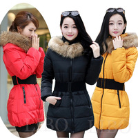 2014 women winter fashion coat  paragraph Slim Korean  Girls padded belt fur collar parka quilted jacket  puffer jacket