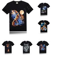 2014 New Brand Black Men's Cotton Short Sleeve T-shirt Fashion O-Neck Casual 3d Print Animal shapes T Shirt  Style  tshirts