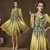 2015 Autumn Expansion Bottom One-piece Dress Leopard Print Bow Three Quarter Sleeve Chiffon Dress For Women 8150#