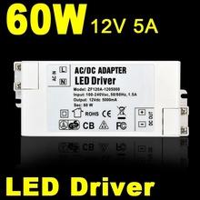 AC100-240V to 12V 5A  60W LED Driver AC DC Adapter Power Supply 60 Watt Lighting Transformer for LED Lamp Strip Light 110V 220V(China (Mainland))