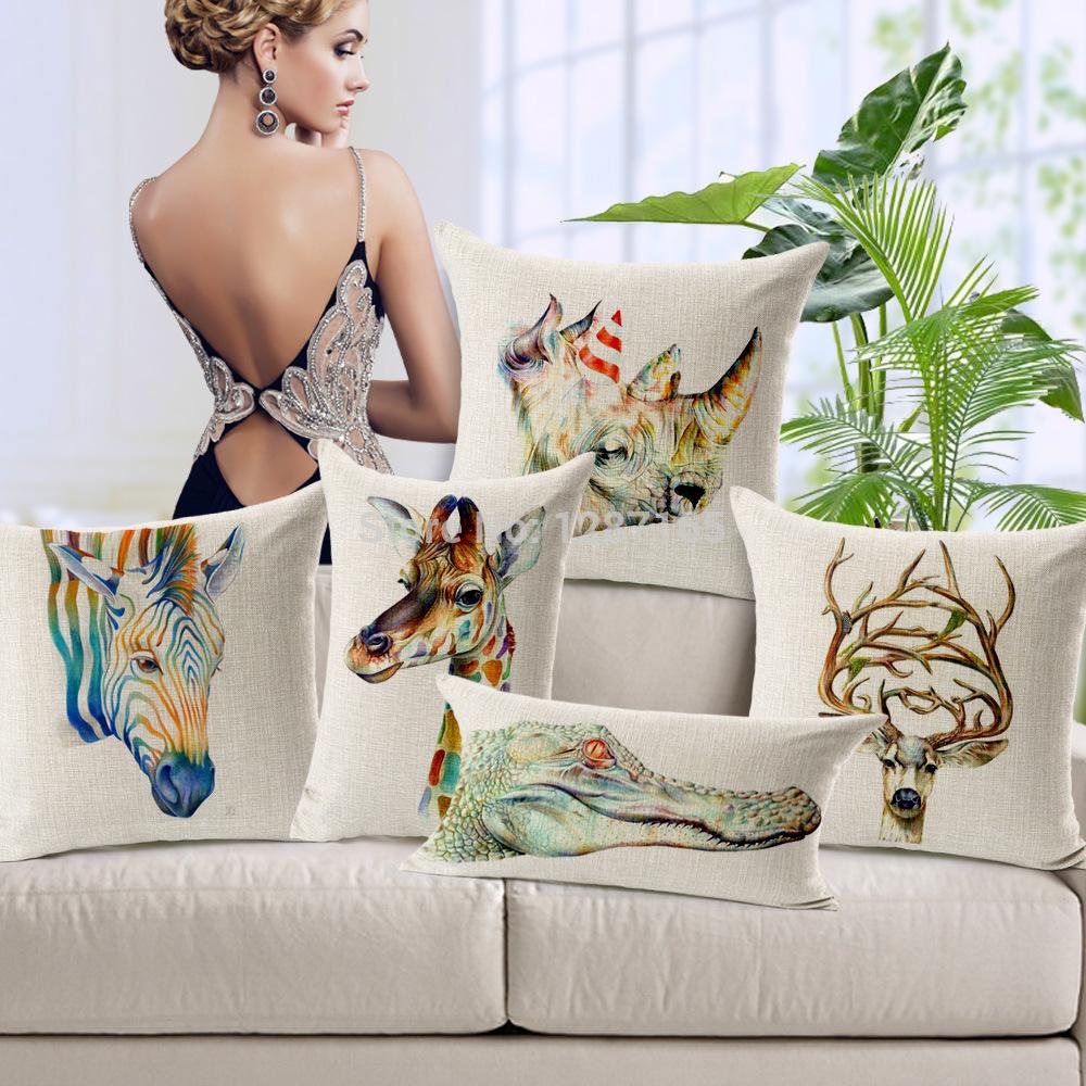 Creative colorful animal series of giraffe zebra rhinoceros moose Cotton Linen Pillow Case Cushion Cover for home office sofa(China (Mainland))