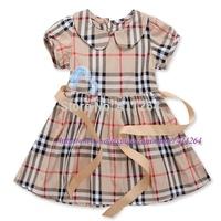 5pcs/lot(2-6 years old) Wholesale children clothes, Girls plaid dress with ribbon belt, short sleeve cotton brand lattice dress