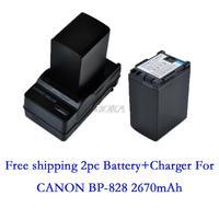 2PC 7.4V 2670mAh BP-828 rechargeable Battery BP828 BP 828 Camera batteries + charger for Canon HF G30 HFG30 XA20 XA25 BP-820