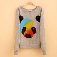 2014 autumn long sleeves clothes shining color panda o-neck clothes gray color M L size