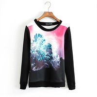 hot sale women long sleeves clothes T-shirt explosion cloud printed autumn clothes S M L size
