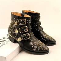 100% Genuine Leather Women Studded Ankle Boots,Name Brand Buckle Boots,European New  Fashion Vintage Ladies Boots Free Shipping