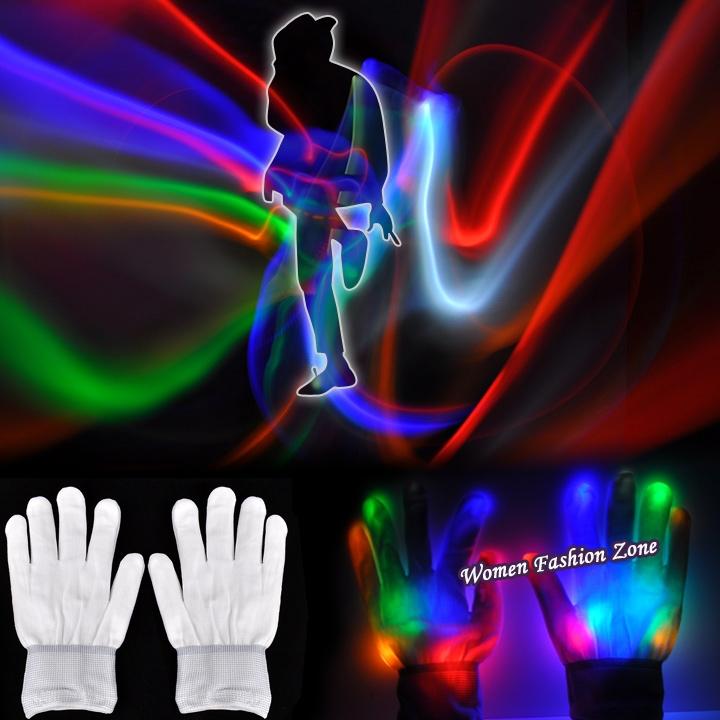 Colorful Multicolor Changing Led Optical Fiber Magic Gloves LED Light Gloves Finger Light Gloves for Event Party Supplies K1207(China (Mainland))