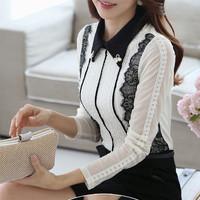 Free shipping long-sleeved chiffon blouse women shirt 2014 Hitz tops ladies shirt OL Slim lace blouse