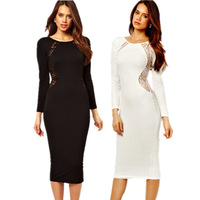 new year 2015 White Long Sleeves Sexy women Lace Inset office dress party evening elegant  Midi pencil dresses plus size LC6456