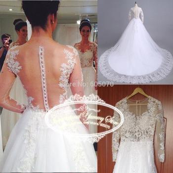 Реальное фото новый элегантный белый тюль свадебное платье Vestido де Noiva с кружевом Applques с длинными рукавами и блестки