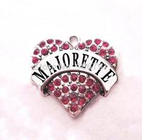 multicolor!  free shipping 100pcs a lot  rhodium  plated  fashion  majorette Crystal Heart Pendant accessories