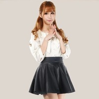 Min order is $10(mix order) WOMEN HIGH WAISTED FAUX LEATHER SOFT PU SKATER FLIPPY PLEATED SWING SKIRT shorts leather skirt Q011
