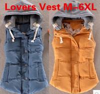2014 men's warm vest Korean men Down cotton-padded jacket lovers women casual warm vest plus size waistcoat for mens M-6XL