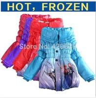 2014 new girls frozen elsa costume coat cotton wadded warmer outerwear kids European fashion pricess dress froze snowsuit jacket