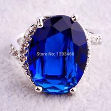 Beautiful Oval Cut Sapphire Quartz 925 Silver Ring Size 7 8 9 10 New Fashion