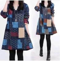 2014 new fashion vestidos cotton dress, Women Spring Autumn V-Neck long sleeve print casual dress, big size M-XXL loose dresses