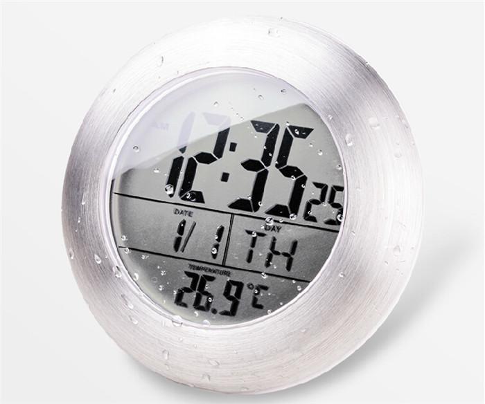 Waterproof Shower Silent Digital Clocks Bathroom Kitchen Wall Suction Cup Clock Watch Modern Fashion Temperature & Date Design(China (Mainland))
