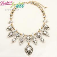 New Brand Vintage Dangle Water Drop Crystal Collar Bib Necklace Fashion Luxury Chunky Statement Choker Charm Jewelry Women Party