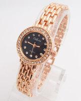 Fashion Rose Gold Tone Watch Women Ladies Crystal Quartz Dress Watch Wristwatches GO128