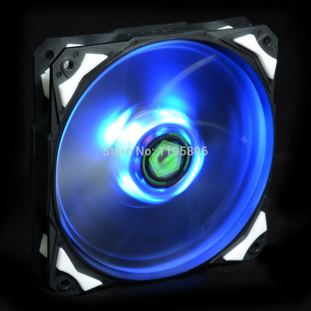 Blue LED 120mm 12V DC Fan With De-vibration Rubber,1600RPM,60CFM, Low Noise & Big Airflow PC Computer Case Cooler Cool(China (Mainland))