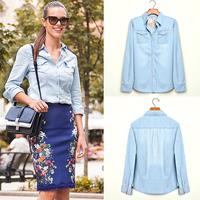 FanShou Free Shipping 2014 Women Blouse Spring Autumn Casual Shirts Long Sleeve Denim Cotton Jeans Shirt Casual Women Shirt