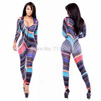 New fashion v cut contrast color jumpsuit bodysuit rompers womens jumpsuit sexy clubwear