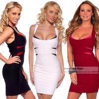 Europe Sexy Women Sleeveless Low-cut Dress Package Hip Nightclub Ladies Body Sculpting Bandage Sheath Dress Evening Dress SDD010