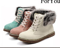 2014 autumn winter shoes Korean version of the cute two students to wear fur snow thick crust Martin boots lacing plus size