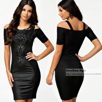 European Brand Elegant Ladies Slim Camisole Dress Plus Size Sexy Off Shoulder Package Hip PU Leather Patchwork Flower Dress