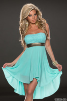 2014 Fashion Women Chiffon Empire Sequined Strapless Dress Lady Sexy Off Shoulder Dress N158