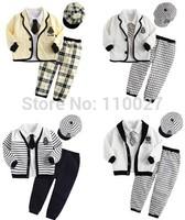 boy five pieces clothing set kids black cap + white blouse + coat + tie + pants plaid grid stripe suit casual clothes 5 sets/lot