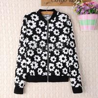 Women Black White Patterns Printing Zipper Cardigan Long Sleeve Casual Short Coat Jacket B6 SV007981
