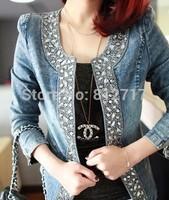 New Top Quality Spring Autumn Retro Diamond Sequined Jeans Jackets Women Coat Long-sleeve Denim Jacket Plus Size Jacket S-XXXXL