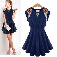 New 2014 Summer Cute Women Lace Patchwork Vest Dresses Pinched Waist Pleated Dress, White, Navy Blue, S, M, L, XL