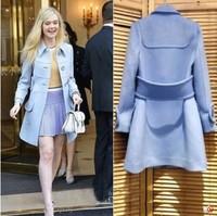 2014 New Arrival Women Turn Down Collar Blue Woolen Coat Long Sleeve Single Button lapel Cashmere Long Winter Coat Plus Size