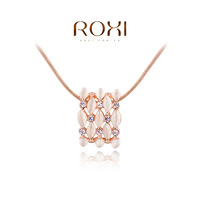 Wholesale Factory Outlet ROXI Crystal Opal Rose Gold Snake Chain Necklace Women Jewelry For Women Party Wedding Girl's Gift