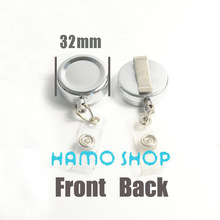 5pcs/lot 32mm Metal Retractable Pull Chain Reel ID Metro Card Badge Bag Holder Reel Recoil Belt Clip Free Shipping(China (Mainland))