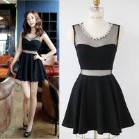New 2015 Summer Sexy&Club Women Slim Fit Mesh Patchwork Diamonds Thin Translucent Tank Mini Dress, Black, S, M, L, XL