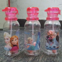 2014 High Quality drinkware Frozen Anna and Elsa PP Texture Suction cup kids cartoon water bottle sports bottle free  ship 50pcs