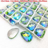 10x14mm 13x18mm 18x25mm 20x30mm 30x40mm Crystal Peridot AB Color Drop Pear Pointback Glass Crystal Fancy Stone