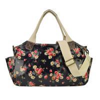 Fashion Women's Flower Printed Shoulder Messenger Bag Crossbody Satchel Handbag Tote Bag(QQ1686) - Black