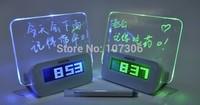 Free Shipping USD 4 PORT HUB BOAR led message clock fluorescence alarm clock with memo board&calendar