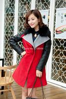 2014 Autumn & Winter New Arrival Women Wool Coat Cotton Convertible Fur Collar Fashion Lady Jacket Slim Casual Spliced